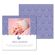 Butterfly Damask Photo Baby Announcement - Lilac