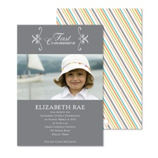 Little Stripes Photo First Communion Invitation