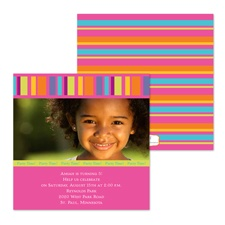 Bright Lines Photo Birthday Invitation