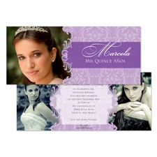 Delicate Damask Photo Quinceanera Invitation