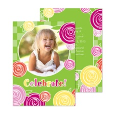 Rosy Celebration Photo Birthday Invitation