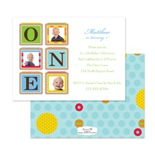 Birthday Blocks Photo Birthday Invitation - One