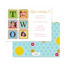 Birthday Blocks Photo Birthday Invitation - Two