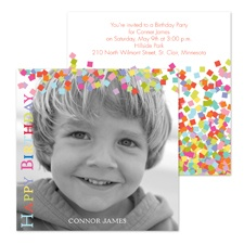 Confetti Photo Birthday Invitation