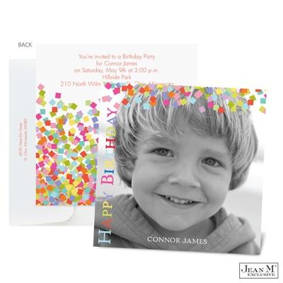 Confetti Photo Birthday Invitation