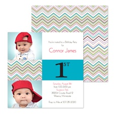 Colorful Chevron Photo Birthday Invitation - First