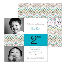 Colorful Chevron Photo Birthday Invitation - Second