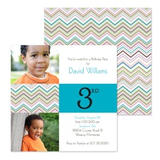 Colorful Chevron Photo Birthday Invitation - Third