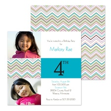 Colorful Chevron Photo Birthday Invitation - Fourth