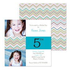 Colorful Chevron Photo Birthday Invitation - Fifth