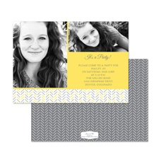 Hip Herringbone Birthday Invitation - Canary