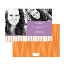 Hip Herringbone Photo Birthday Invitation - Grapevine