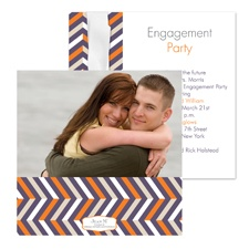 So Chevron Photo Engagement Party Invitation - Raisin