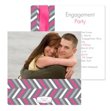 So Chevron Photo Engagement Party Invitation - Fuchsia