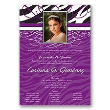 Zebra Stripe Photo Quinceanera Invitation - Purple
