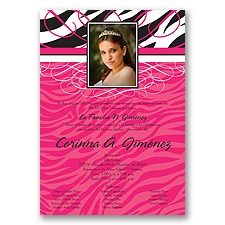 Zebra Stripe Photo Quinceanera Invitation - Pink
