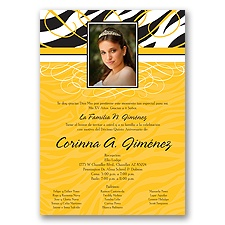 Zebra Stripe Photo Quinceanera Invitation - Yellow