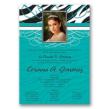 Zebra Stripe Photo Quinceanera Invitation - Peacock