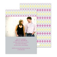 Diamond Geometry Photo Engagement Party Invitation