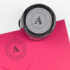 Custom Address Stamp - Damask Letter