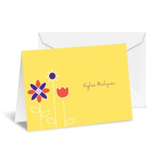 Growing Posies Note Card and Envelope - Canary