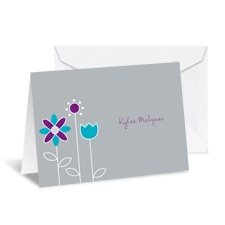 Growing Posies Note Card and Envelope - Stainless