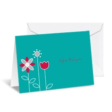 Growing Posies Note Card and Envelope - Peacock