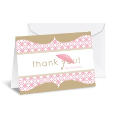 Umbrella Banner Note Card and Envelope - Champagne