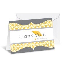 Umbrella Banner Note Card and Envelope - Pewter