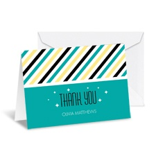 Diva Stripes Note Card and Envelope - Peacock