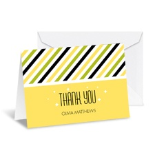 Diva Stripes Note Card and Envelope - Canary