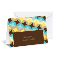 Sweet Geometry Note Card and Envelope - Espresso