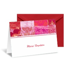 Patchwork Patterns Note Card and Envelope - Cherry