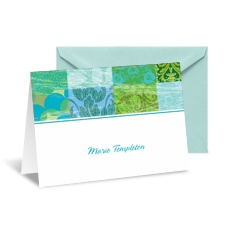 Patchwork Patterns Note Card and Envelope - Palm