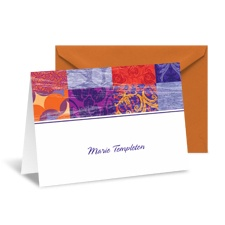Patchwork Patterns Note Card and Envelope - Purple