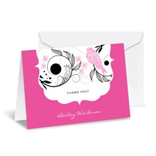 Birdsong Note Card and Envelope - Fuchsia