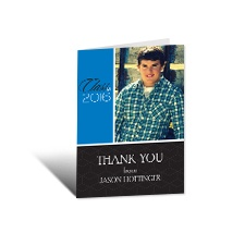 Hip Geometric Photo Graduation Thank You Card