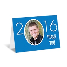 Your Year Photo Graduation Thank You Card - Blue