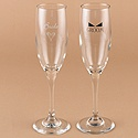 Personalized Heart and Tuxedo Flutes