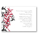 Floral Edge - Bright Red Invitation