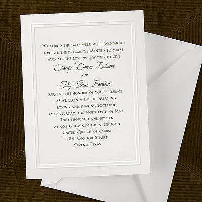 Subtle borders invitation wedding invitations for Carlson craft invitations discount