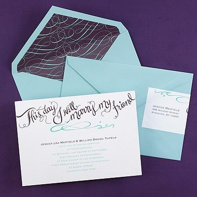 Calligraphy invitation wedding invitations carlson for Carlson craft invitations discount