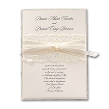 Elegant Ecru Lace - Invitation