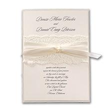 Elegant Ecru Lace - Invitation