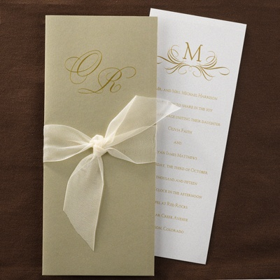 Pearl Shimmer with Gold Wrap - Invitation