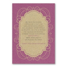 Designer Chandelier - Invitation - Gold Glitter