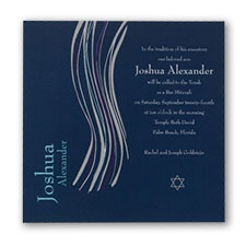 Navy Bar Mitzvah Shawl - Invitation
