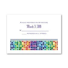 Marvelous Mosaic - Bar Mitzvah - Response Card and Envelope