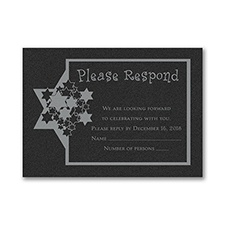 Stars of David - Response Card and Envelope - Black Shimmer