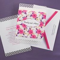 Sheer Blossoms Amethyst Invitation
